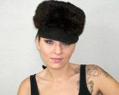 Vintage 1980s Rabbit Fur Brown Cap