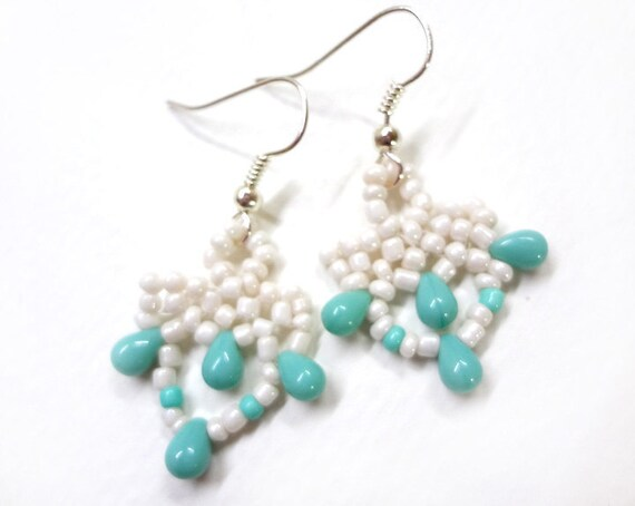 Beaded Earrings with Turquoise Detail