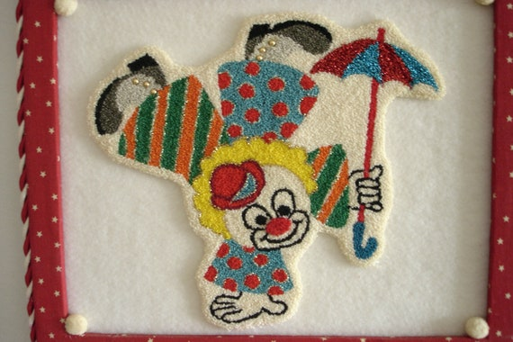 REDUCED Happy Acrobat Clown Wall Hanging Needle Punch Brightly Colored  Handmade Free Shipping in USA