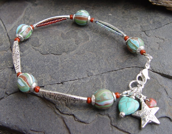 Reserved for Kat:  Art Beads, Bali Style Silver, Turquoise Magnesite Heart and Silver Star Southwest Bracelet Boho Gypsy