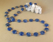 Lapis Lazuli Coin Necklace / Copper Beads