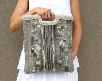 Felted wool bag Symphony gray - gift idea under 100 - great organizer - gift for music books - handmade - Mother's day gift