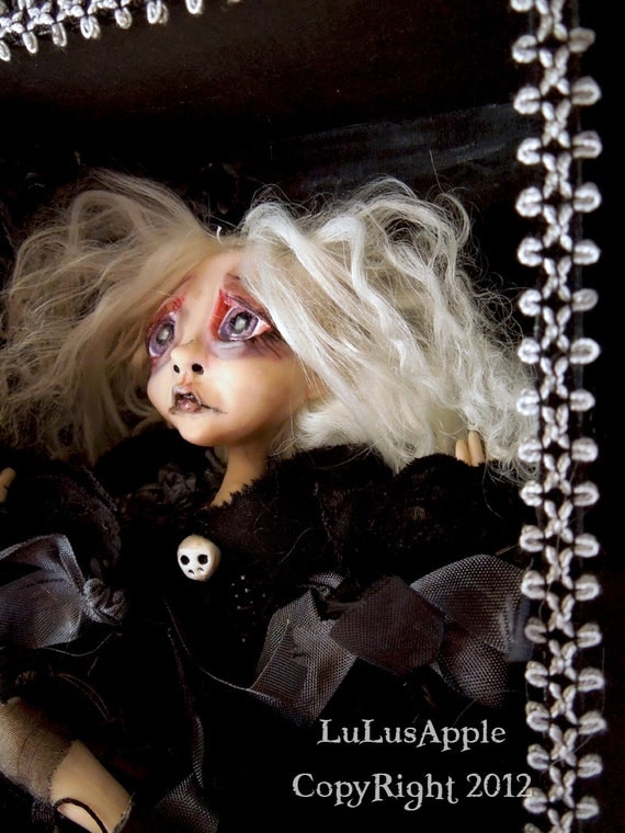 Halloween Sad Art Doll Gothic cemetery wall hanging shadowbox doll Darla