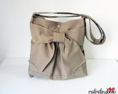 NEW - Pretty Bow Bag in Dark Khaki With  Adjustable Strap