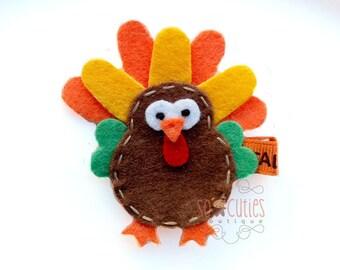 Turkey Felt hair clip / thanksgiving hair clip / non slip hairclip / baby hair clip..