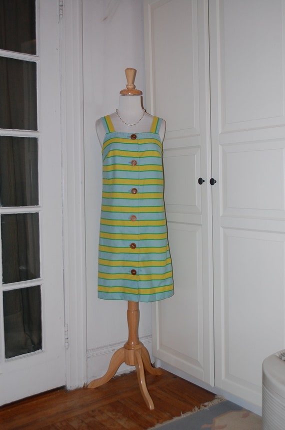 60s Dress, Shift, Blue, Green, Yellow Stripes, Cotton, Mod, Size Medium