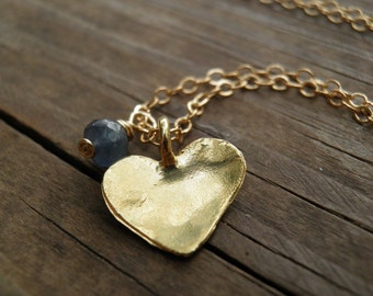 VALENTINES DAY SALE, Gold Heart, Heart Jewelry, Genuine Blue Sapphire Heart Necklace 14K Gold Filled, September Birthstone, Gold heart Charm