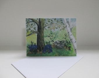 Lobelia Garden Watercolor Notecard
