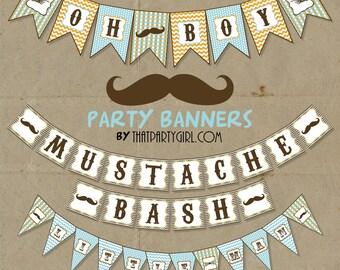Mustache Bash Little Man Party Banner - DIY digital U Print - Instant Download
