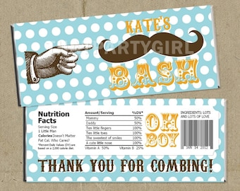 12 Mustache Bash Party Candy Bar Wrappers