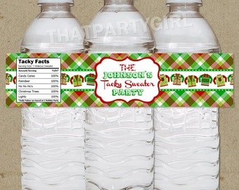 Ugly Sweater Holiday Party Water Bottle Labels - DIY digital U Print
