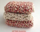 Set of 3 Cotton Washcloths-  Red & Natural