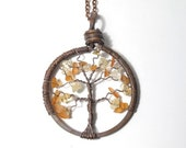 Autumn Tree of Life Antiqued Copper Necklace in Carnelian and Citrine.