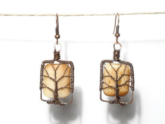 The Bone Tree of  Life Earrings in Antique Copper