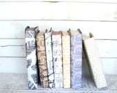 Vintage Books for your Wedding or Shelf Decorative Paper Covered Books Antique Key Feather Chair Black White Brown Clock script