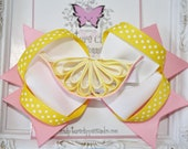 Sculpture Clippies' Pink Lemon Sculpture Ribbon OTT Combo Bow Set. Pink Lemonade Sun Hair Bow.  Summer Spring Lemon Bow. Free Ship Promo.