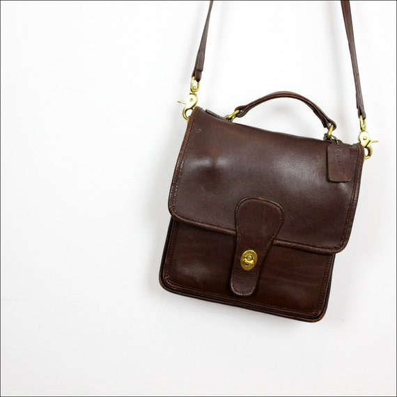 Coach station bag / vintage dark brown leather Coach satchel