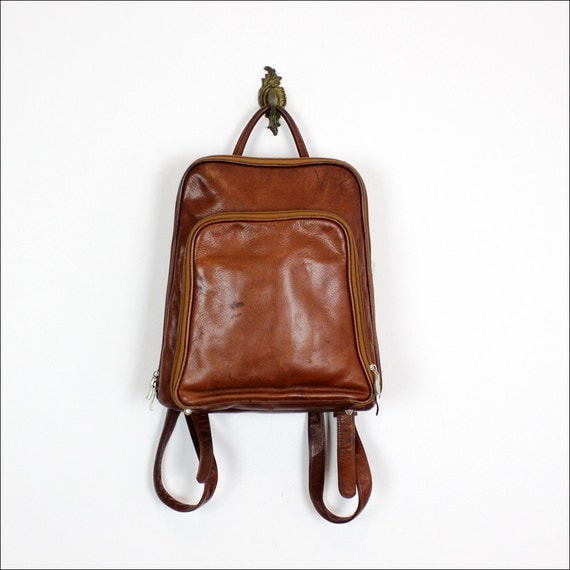 brown leather backpack / thin & small book bag