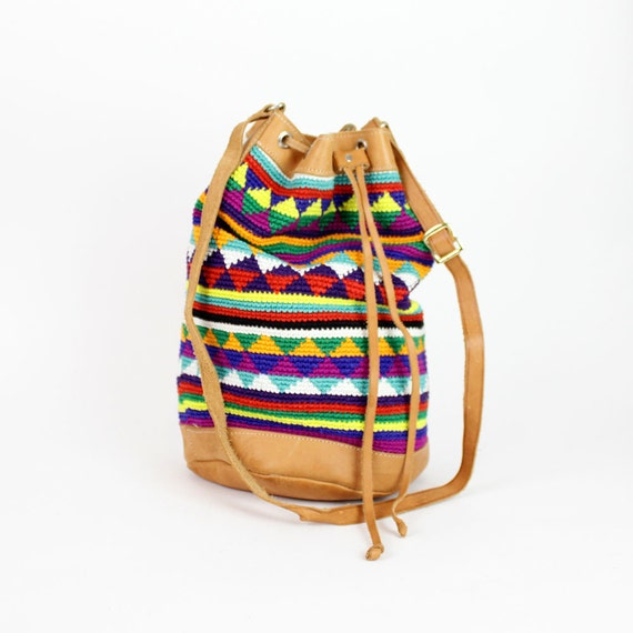 latin tapestry bucket bag / beach textile cinch bag