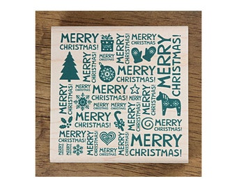 Christmas Rubber Stamp - Merry Christmas TEXT
