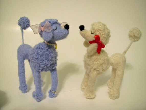 Needle Felted Snooty Poodle, White with Red Bows