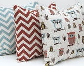 Decorative Throw Pillow Covers Owl, Greek Key and Chevron Pillow Covers 20 x 20 Inches Set of Three