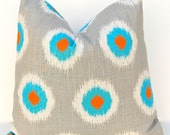 Pillow Covers Decorative Throw Pillow Aqua Turquoise, Orange and Gray on Natural Ikat Dots 18 x 18 Inches Southwestern Decor Cushion Covers