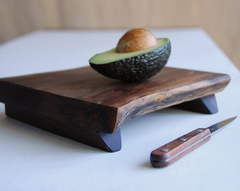 Small Walnut Prep Platte Cutting Board Rustic Wood Organic Wedding Gift