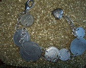Rustic World Coin Rustic Charm Bracelet Silver Tones