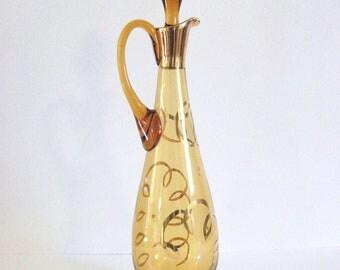 Vintage Gold Glass Decanter