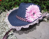Cowgirl Hat -  Navy Blue and Pink  - Girls Cowboy Hat - Girls Western Themed Party Hat - Style CB41