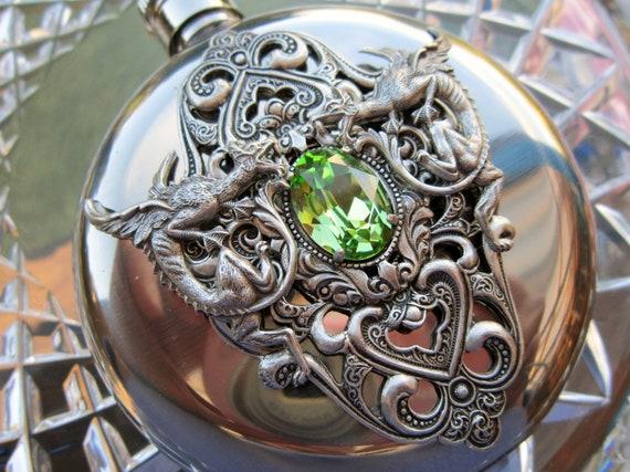 HIP FLASK Peridot  Swarovski Crystal  and Dragons