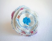 Flower ring, blue linen fabric, embroidered ring, textile layers flower, shabby ring, romantic floral jewelry, adjustable ring