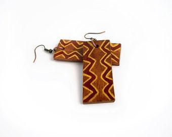 African wooden earrings, tribal geometric pattern, eco friendly jewelry, eco fashion jewelry