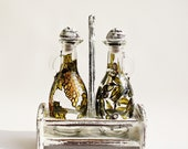 Vinegar and Oil Bottle set Hand painted  -  2 glass bottles with wooden hand painted shabby chic white stand