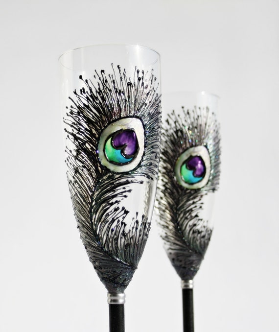 Black Peacock Feathers Wedding Toasting Champagne Flutes Hand Painted,set of 2 Great Wedding Gift, Anniversary, Valentines Gift