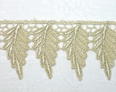Venice Lace Golden Gold Leaves Trim Autumn Leaf Motif Great for Crazy Quilting - Half Yard