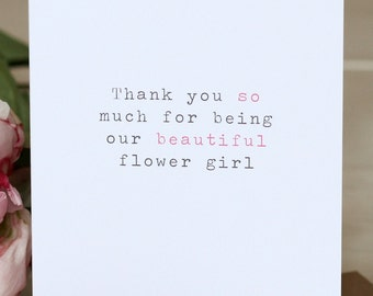 Wedding Thank You Card - 'Beautiful Flower Girl'