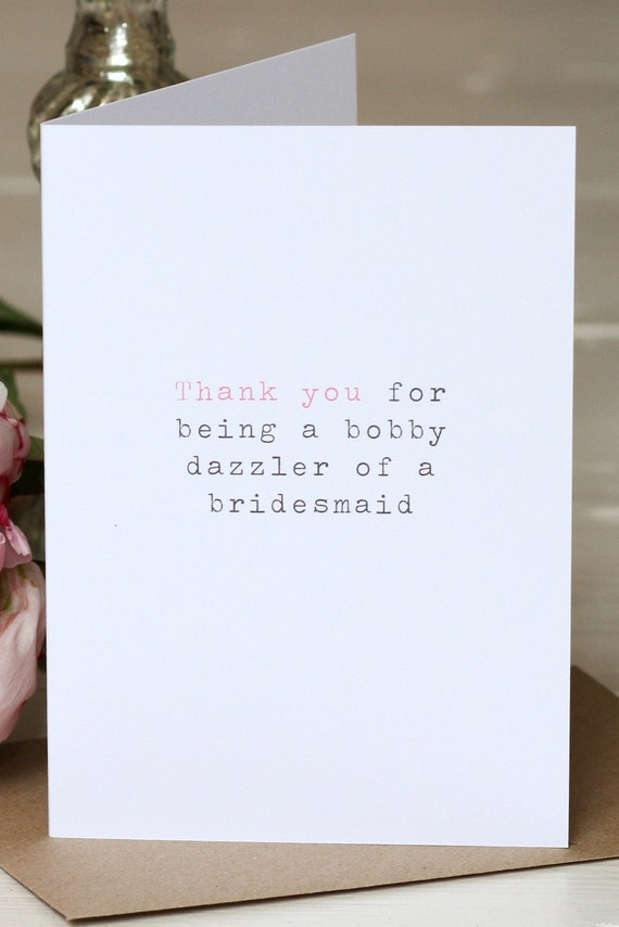 Wedding Thank You Card - 'Bobby Dazzler Of A Bridesmaid'