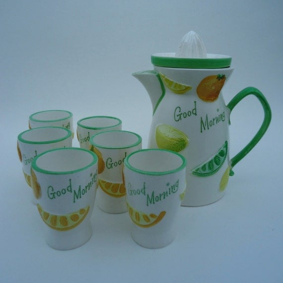 Napco Good Morning Juice Pitcher and Glasses 1960s Japan