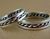 Sterling silver wedding band set