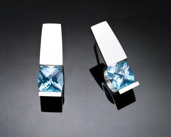 blue topaz earrings, sky blue topaz, silver earrings, wedding earrings, December birthstone, wedding earrings, modern earrings - 2431