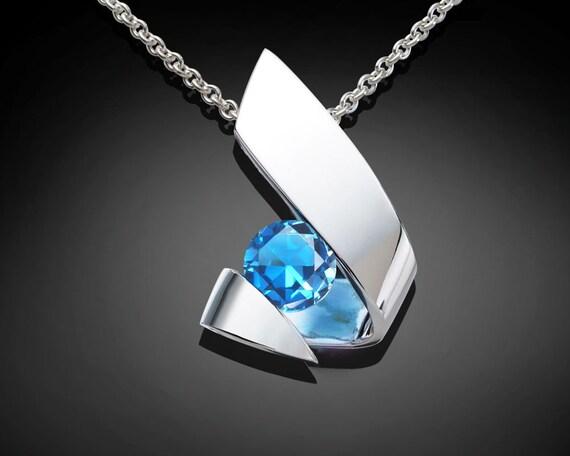 Swiss blue topaz necklace, blue topaz pendant, silver pendant, December birthstone, artisan necklace, eco-friendly, modern necklace -  3440