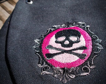 Black canvas pink skull cameo purse with satin lining