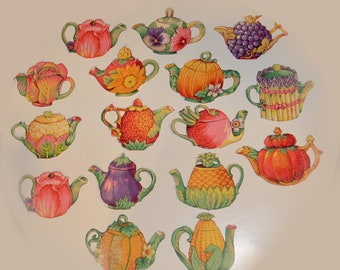 Vintage Collection of Tea Pot Iron Ons Harvest Vegetables
