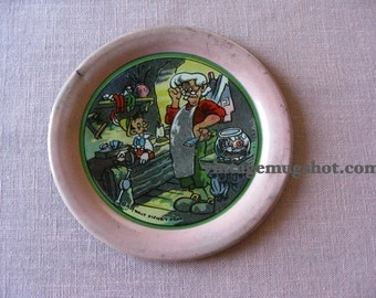 "PINOCCHIO 1934 Disney Metal Plate 4 1/8"" Disneyland Disneyana"
