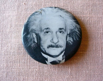 60'S Hippie Pinback - Albert Einstein Photo Button NY sixties