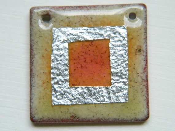 Yellow and Peach Enameled Pendant with Silver Square