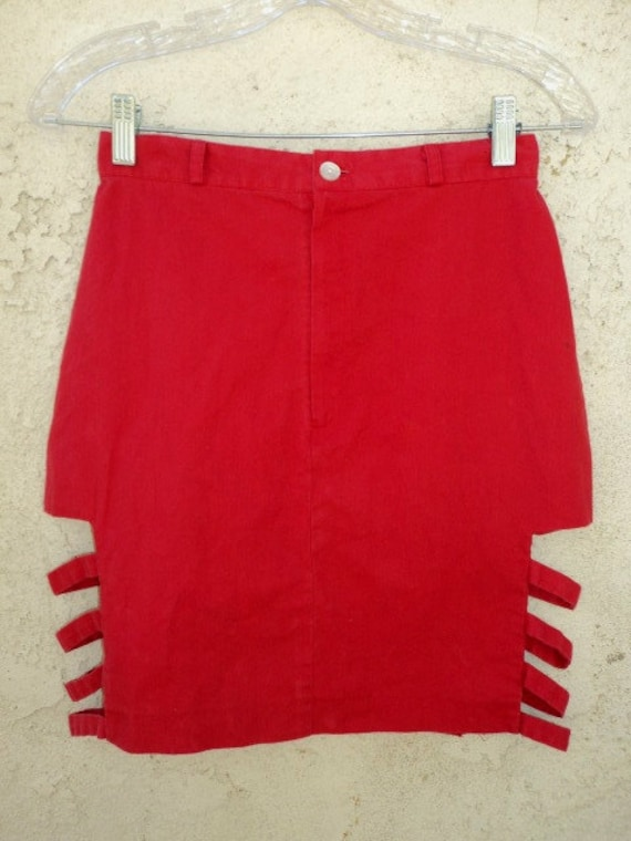 Red 80s High Waisted Pencil Skirt w Side Cut Outs