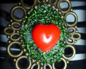 chunky green and red heart vintage ring